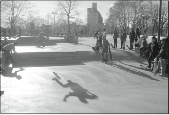A skateboarder flips his board for the contest finale