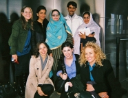 From left to Right: (back) Minky Worden(HRW), Annie Ali Khan, Zakia Parveen, Waheed Pervez, Sunbul Naz, (front)Sarah J. Robbins (Glamour), Alison Goldman(Glamour) and Rita Pearl(RMP) at the Empire State Building Rooftop.