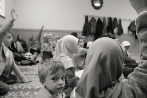 Bosnian children attending weekend classes at the Bosnian Islamic Center